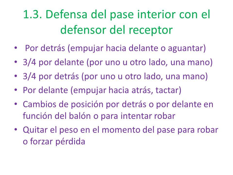 1.3. Defensa del pase interior con el defensor del receptor Por detrás (empujar hacia delante o aguantar) 3/4 por delante (por uno u otro lado, una ma