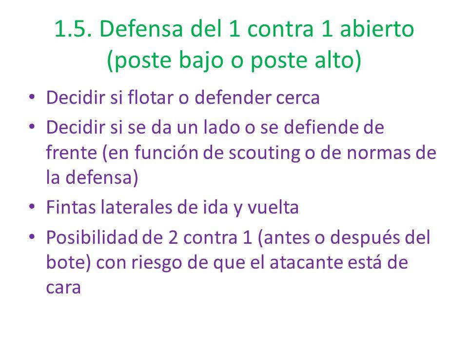 1.5. Defensa del 1 contra 1 abierto (poste bajo o poste alto) Decidir si flotar o defender cerca Decidir si se da un lado o se defiende de frente (en