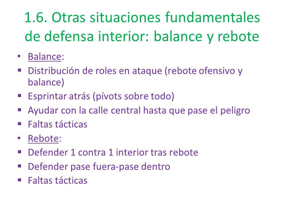 1.6. Otras situaciones fundamentales de defensa interior: balance y rebote Balance: Distribución de roles en ataque (rebote ofensivo y balance) Esprin