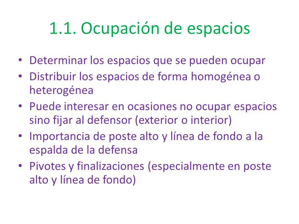 1.1. Ocupación de espacios Determinar los espacios que se pueden ocupar Distribuir los espacios de forma homogénea o heterogénea Puede interesar en oc