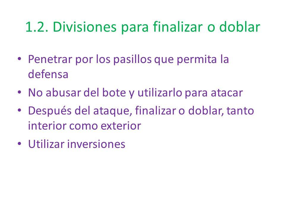 1.2. Divisiones para finalizar o doblar Penetrar por los pasillos que permita la defensa No abusar del bote y utilizarlo para atacar Después del ataqu