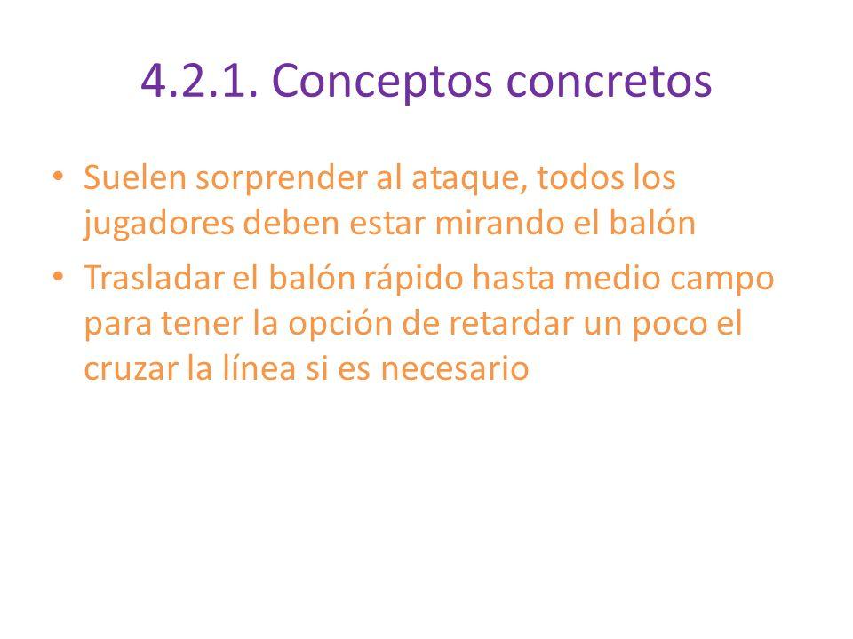 4.2.1. Conceptos concretos Suelen sorprender al ataque, todos los jugadores deben estar mirando el balón Trasladar el balón rápido hasta medio campo p