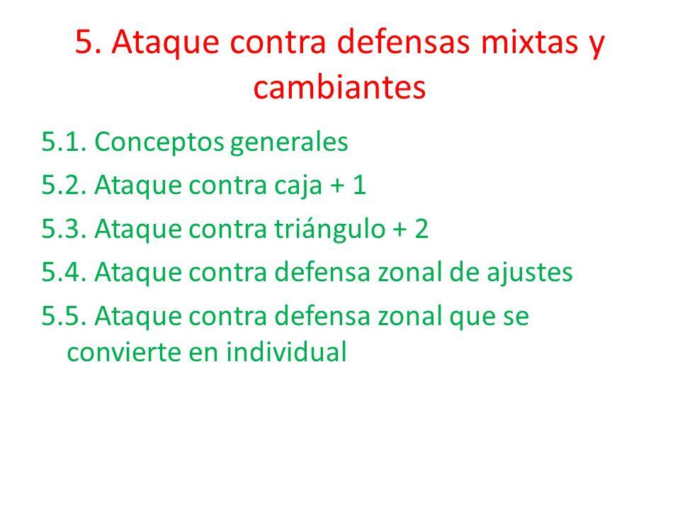 5. Ataque contra defensas mixtas y cambiantes 5.1. Conceptos generales 5.2. Ataque contra caja + 1 5.3. Ataque contra triángulo + 2 5.4. Ataque contra