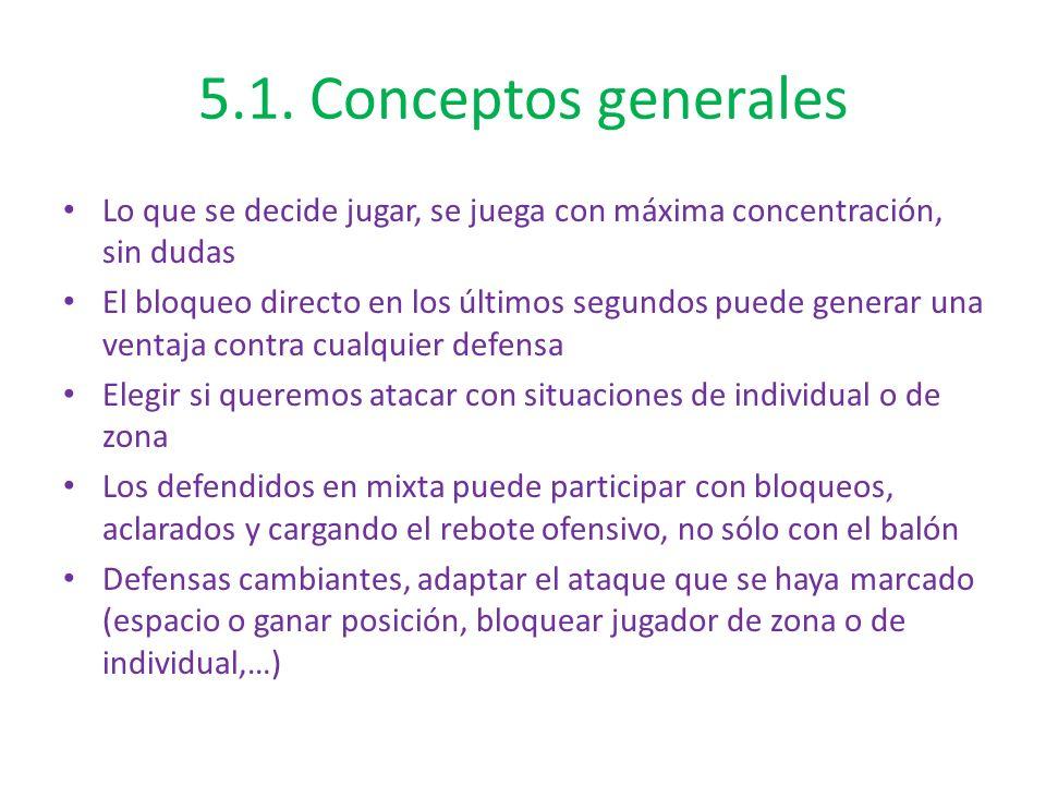 5.1. Conceptos generales Lo que se decide jugar, se juega con máxima concentración, sin dudas El bloqueo directo en los últimos segundos puede generar