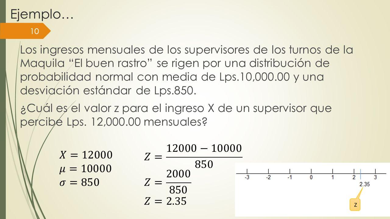 Ejemplo… Los ingresos mensuales de los supervisores de los turnos de la Maquila El buen rastro se rigen por una distribución de probabilidad normal co