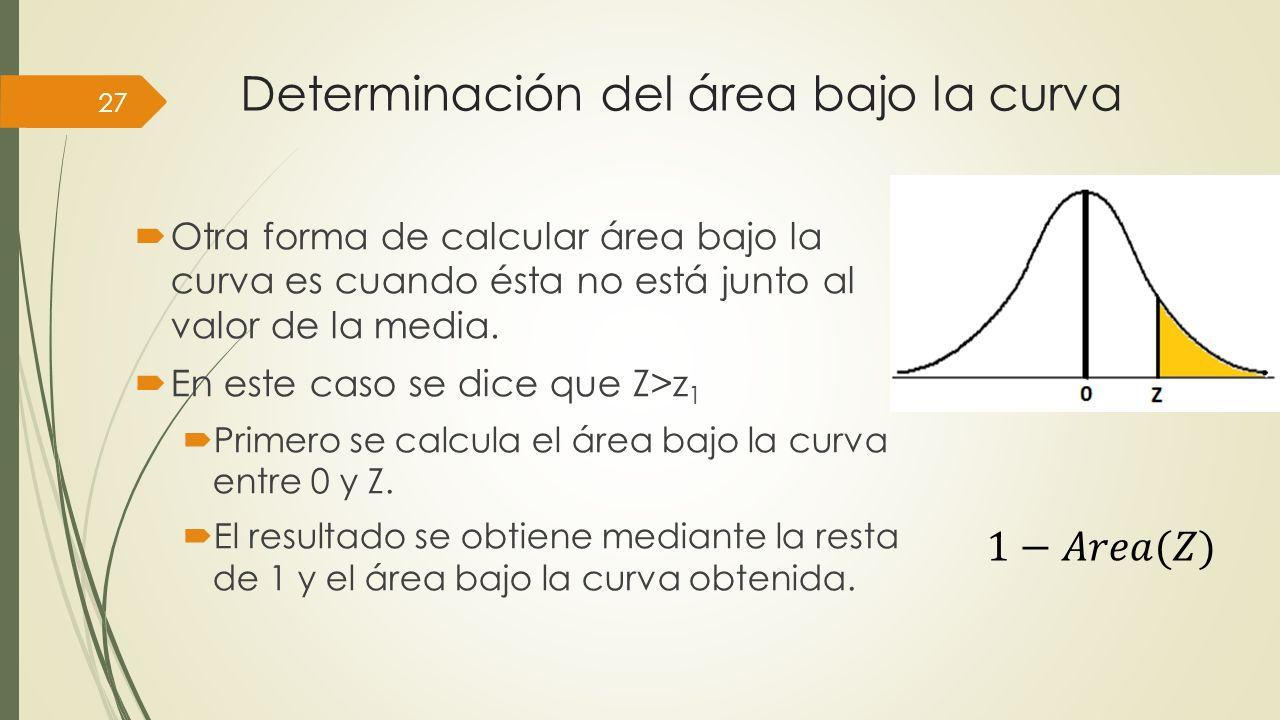 Determinación del área bajo la curva 27 Otra forma de calcular área bajo la curva es cuando ésta no está junto al valor de la media. En este caso se d