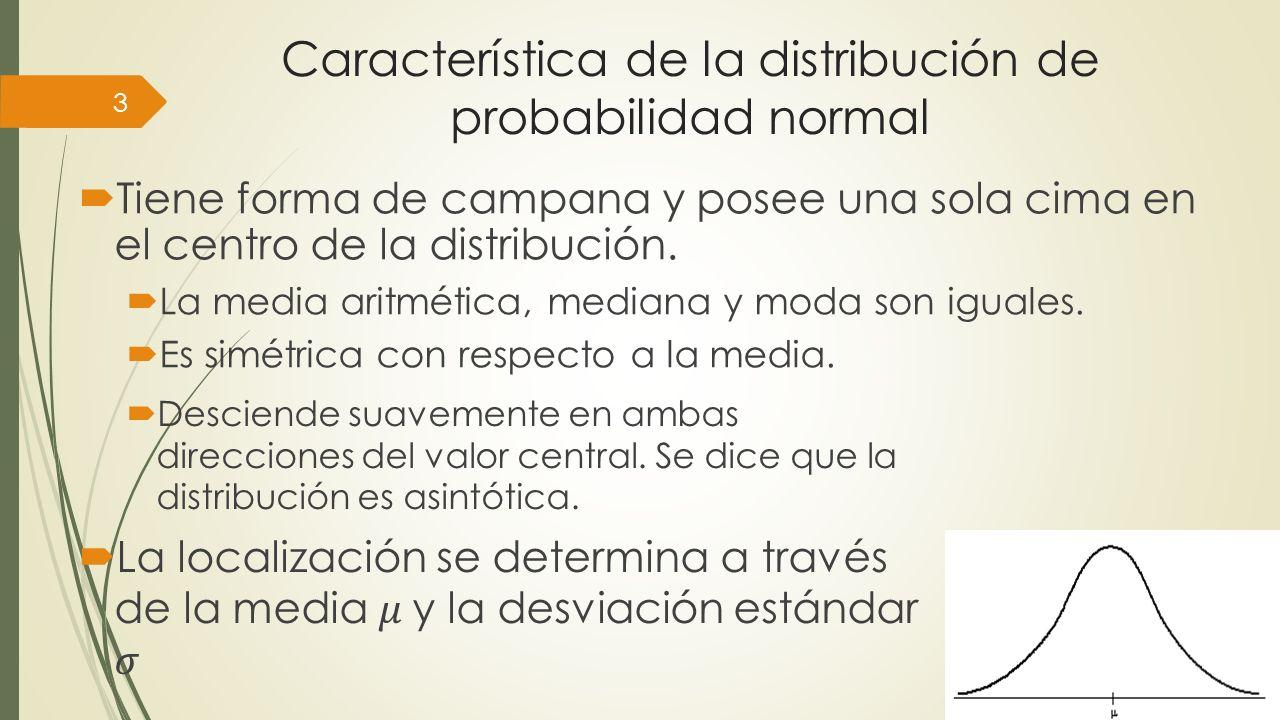 Característica de la distribución de probabilidad normal 3 Tiene forma de campana y posee una sola cima en el centro de la distribución. La media arit
