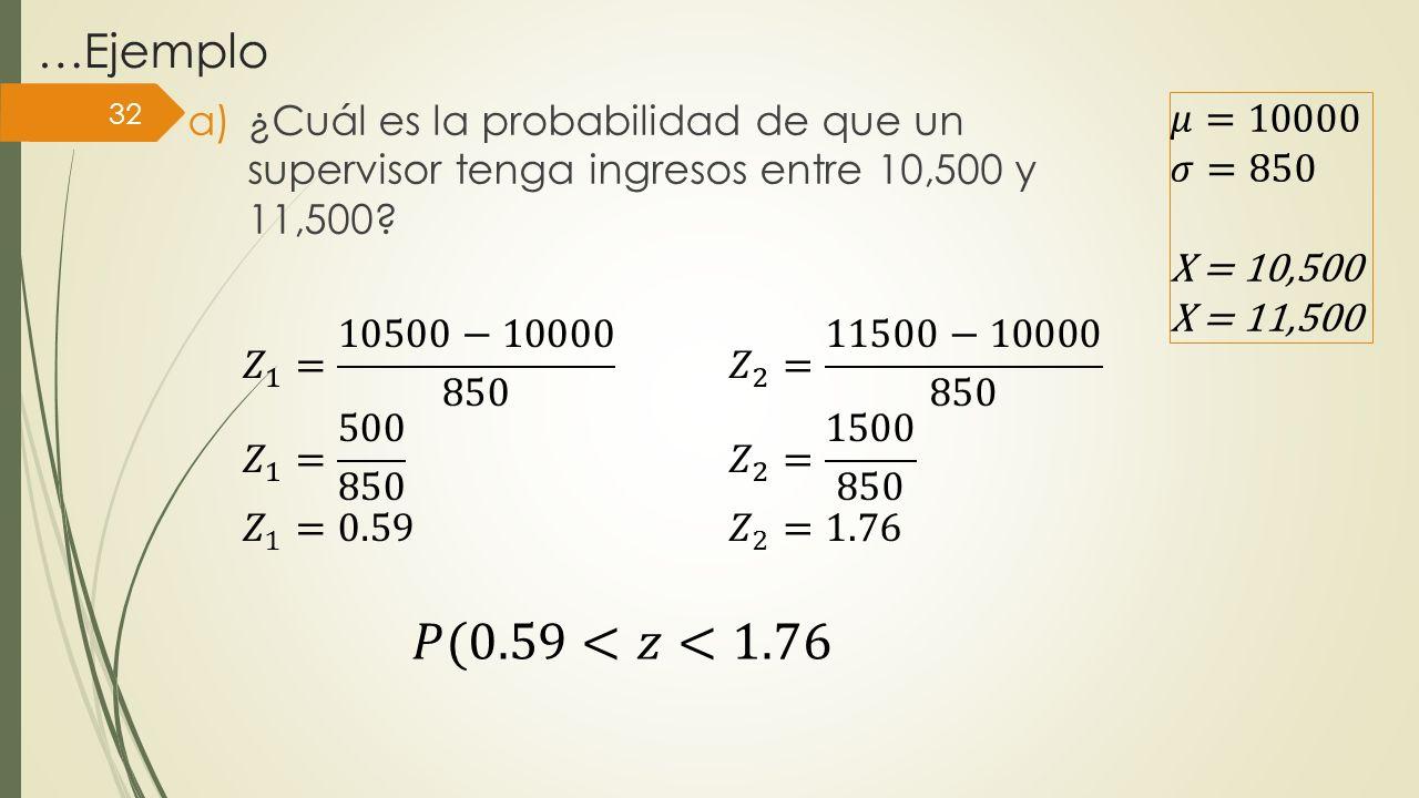 …Ejemplo a)¿Cuál es la probabilidad de que un supervisor tenga ingresos entre 10,500 y 11,500? 32