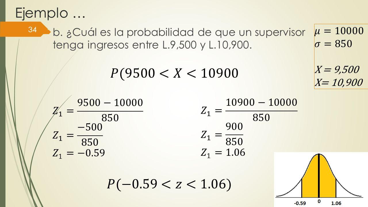 Ejemplo … b. ¿Cuál es la probabilidad de que un supervisor tenga ingresos entre L.9,500 y L.10,900. 34