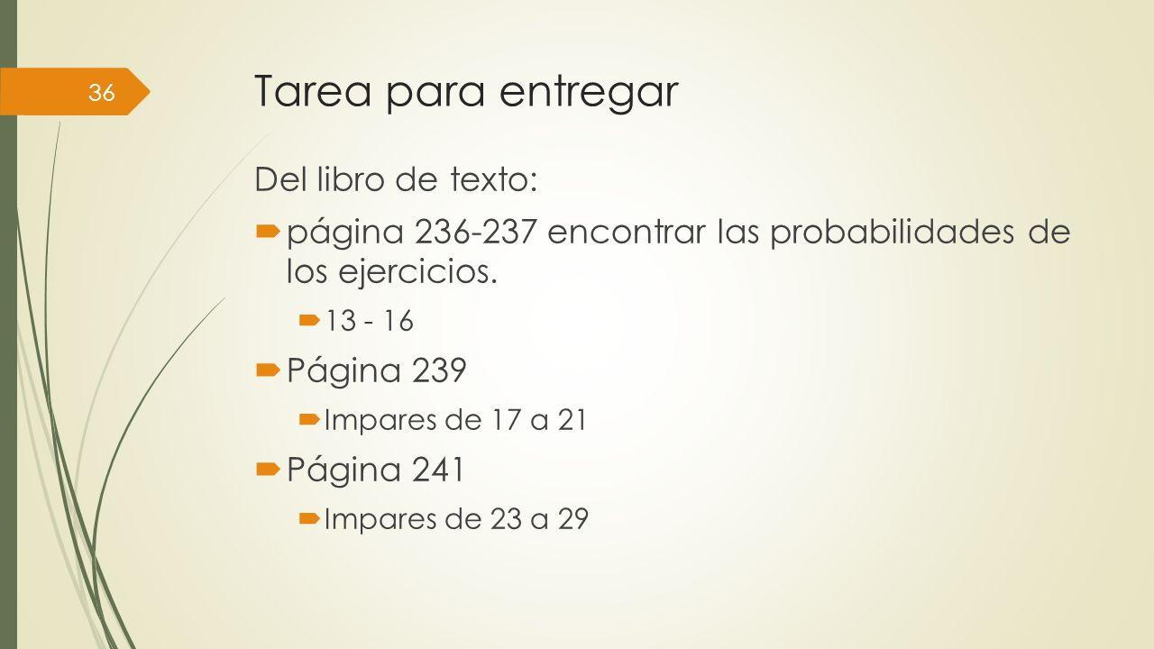 Tarea para entregar Del libro de texto: página 236-237 encontrar las probabilidades de los ejercicios. 13 - 16 Página 239 Impares de 17 a 21 Página 24