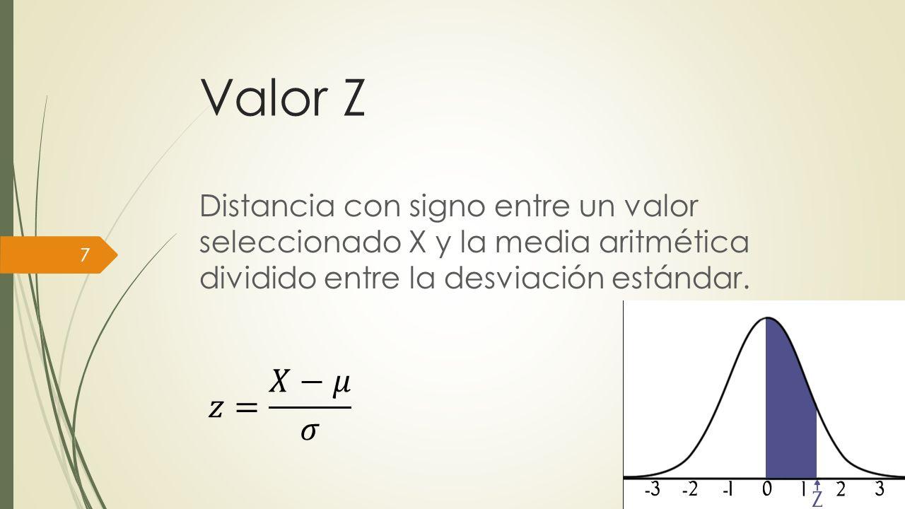 Valor Z Según se observa en la definición anterior, el valor z expresa la distancia (diferencia) entre un valor dado de X y la media aritmética en unidades de desviación estándar.