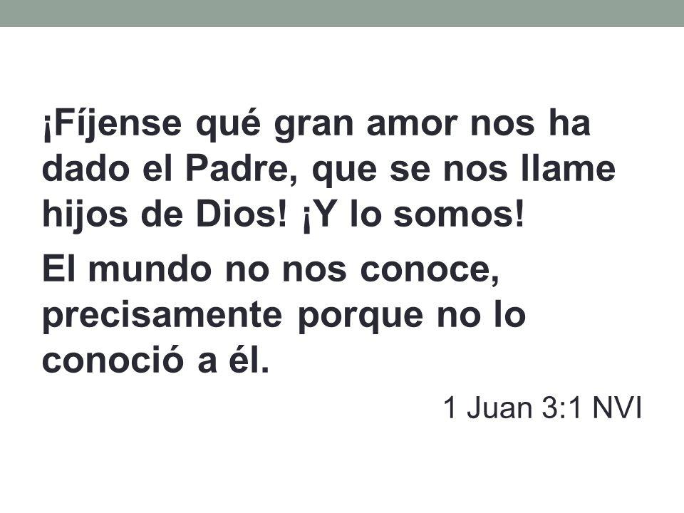 ¡Fíjense qué gran amor nos ha dado el Padre, que se nos llame hijos de Dios! ¡Y lo somos! El mundo no nos conoce, precisamente porque no lo conoció a
