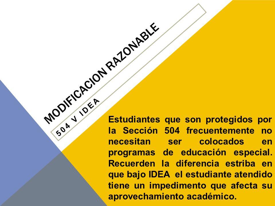 MODIFICACION RAZONABLE ¿QUÉ ES UNA ADAPTACIÓN APROPIADA SEGÚN LA SECCIÓN 504.