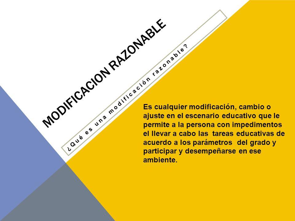 MODIFICACION RAZONABLE CARTA DE DERECHOS DE LA PERSONA CON IMPEDIMENTOS, LEY NÚM.