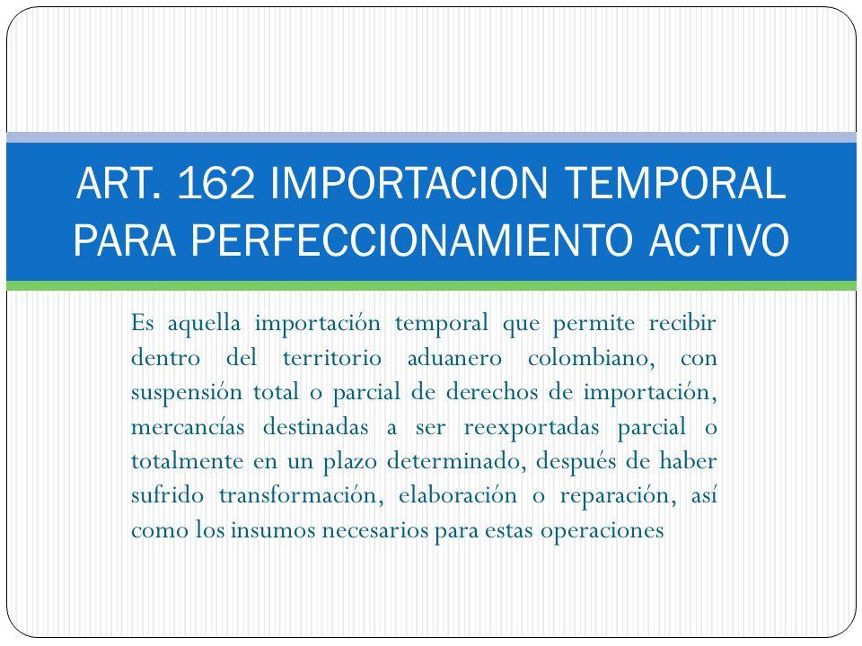 ART. 162 IMPORTACION TEMPORAL PARA PERFECCIONAMIENTO ACTIVO Es aquella importación temporal que permite recibir dentro del territorio aduanero colombi