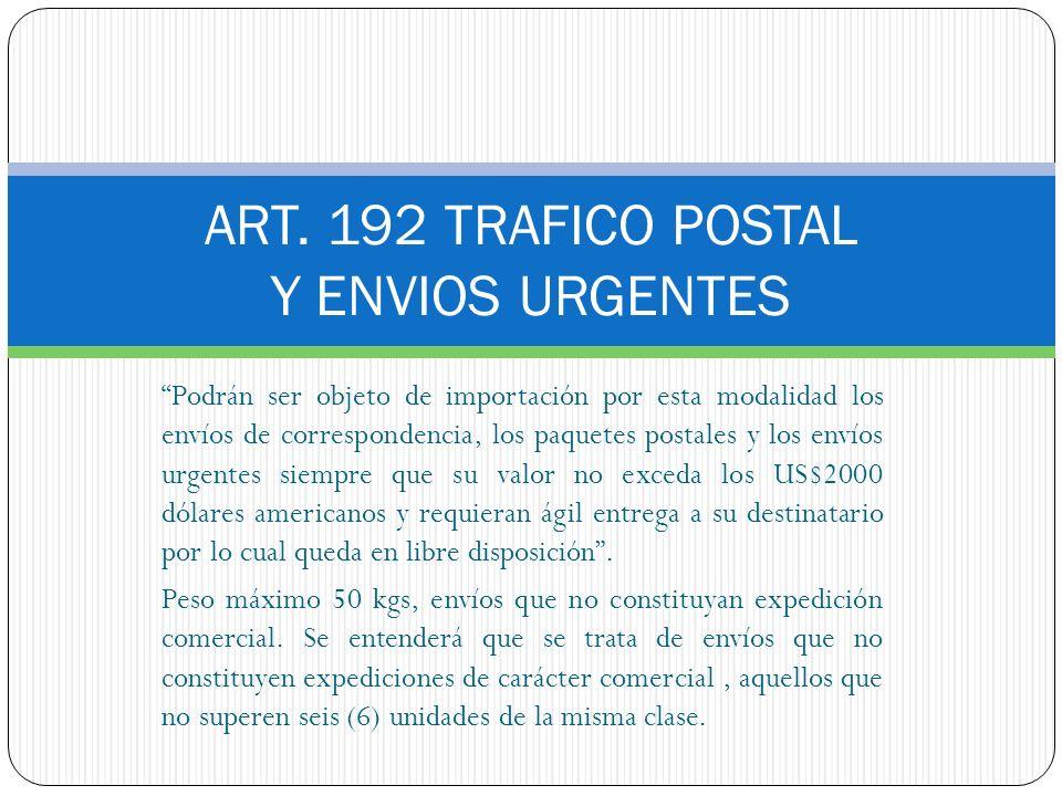 ART. 192 TRAFICO POSTAL Y ENVIOS URGENTES Podrán ser objeto de importación por esta modalidad los envíos de correspondencia, los paquetes postales y l