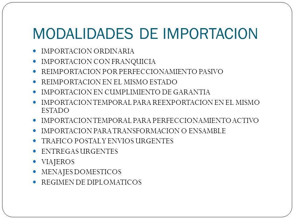 MODALIDADES DE IMPORTACION IMPORTACION ORDINARIA IMPORTACION CON FRANQUICIA REIMPORTACION POR PERFECCIONAMIENTO PASIVO REIMPORTACION EN EL MISMO ESTAD
