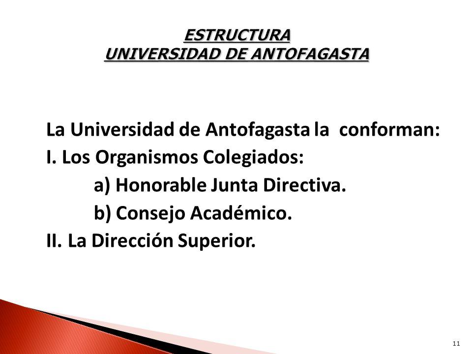 La Universidad de Antofagasta la conforman: I. Los Organismos Colegiados: a) Honorable Junta Directiva. b) Consejo Académico. II. La Dirección Superio