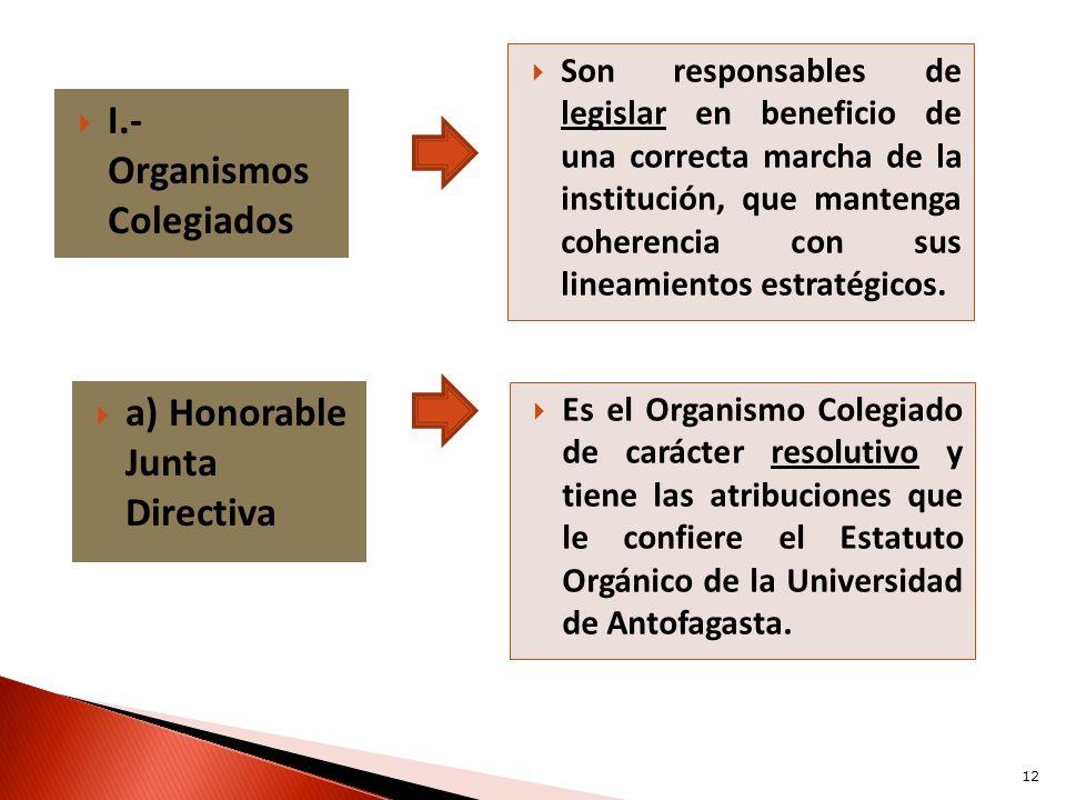 I.- Organismos Colegiados Son responsables de legislar en beneficio de una correcta marcha de la institución, que mantenga coherencia con sus lineamie