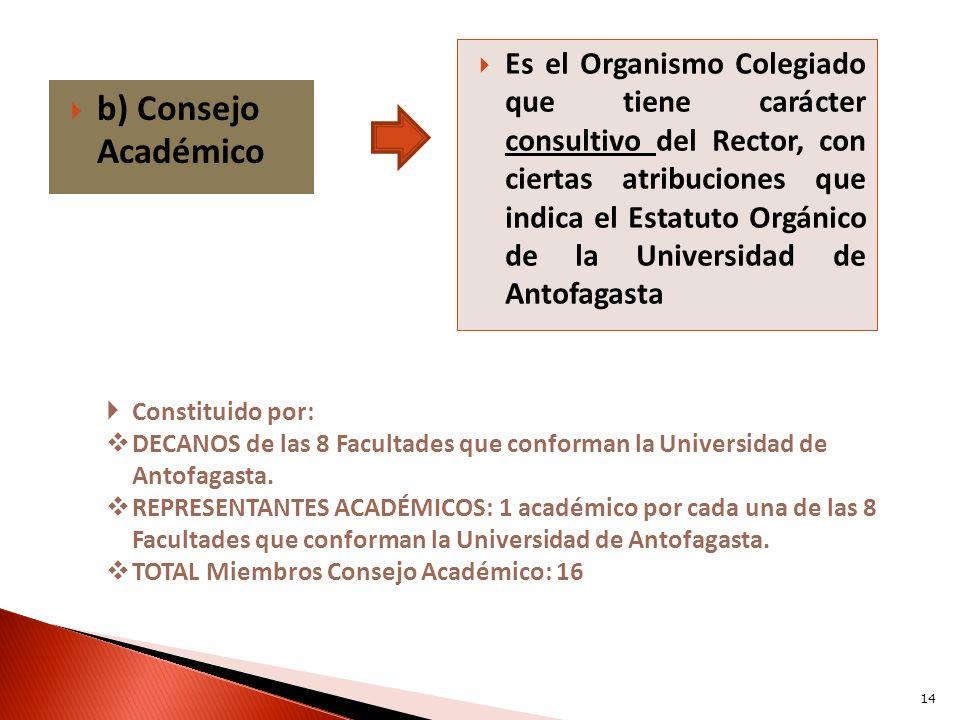 b) Consejo Académico Es el Organismo Colegiado que tiene carácter consultivo del Rector, con ciertas atribuciones que indica el Estatuto Orgánico de l