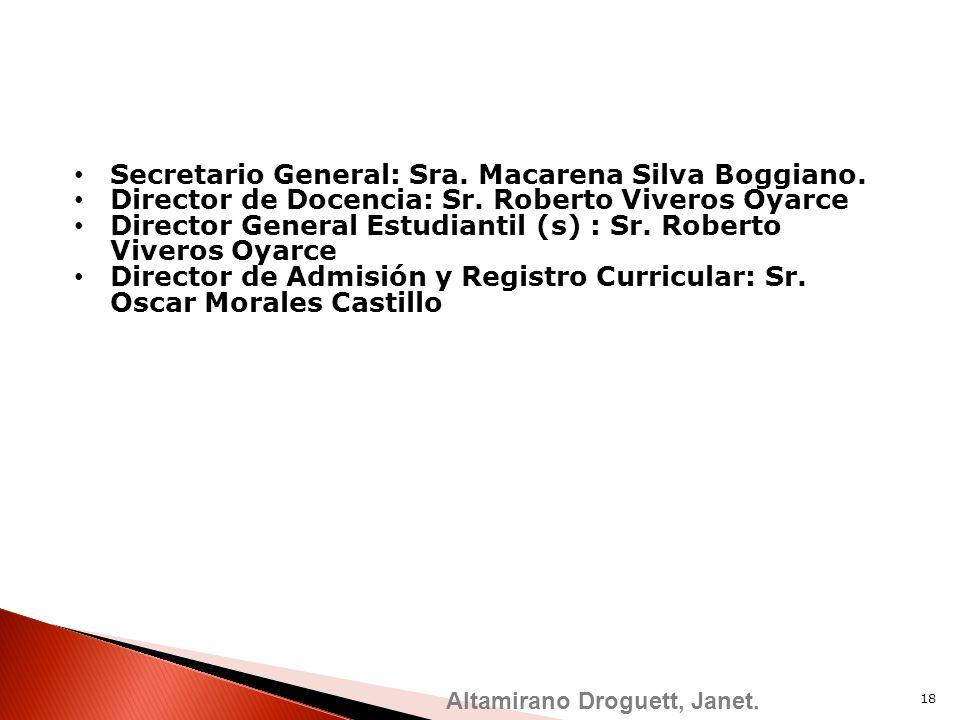 Secretario General: Sra. Macarena Silva Boggiano. Director de Docencia: Sr. Roberto Viveros Oyarce Director General Estudiantil (s) : Sr. Roberto Vive
