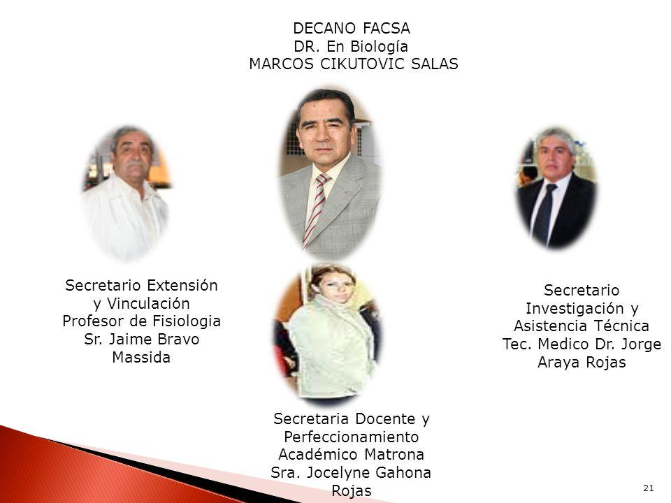 DECANO FACSA DR. En Biología MARCOS CIKUTOVIC SALAS Secretario Investigación y Asistencia Técnica Tec. Medico Dr. Jorge Araya Rojas Secretario Extensi