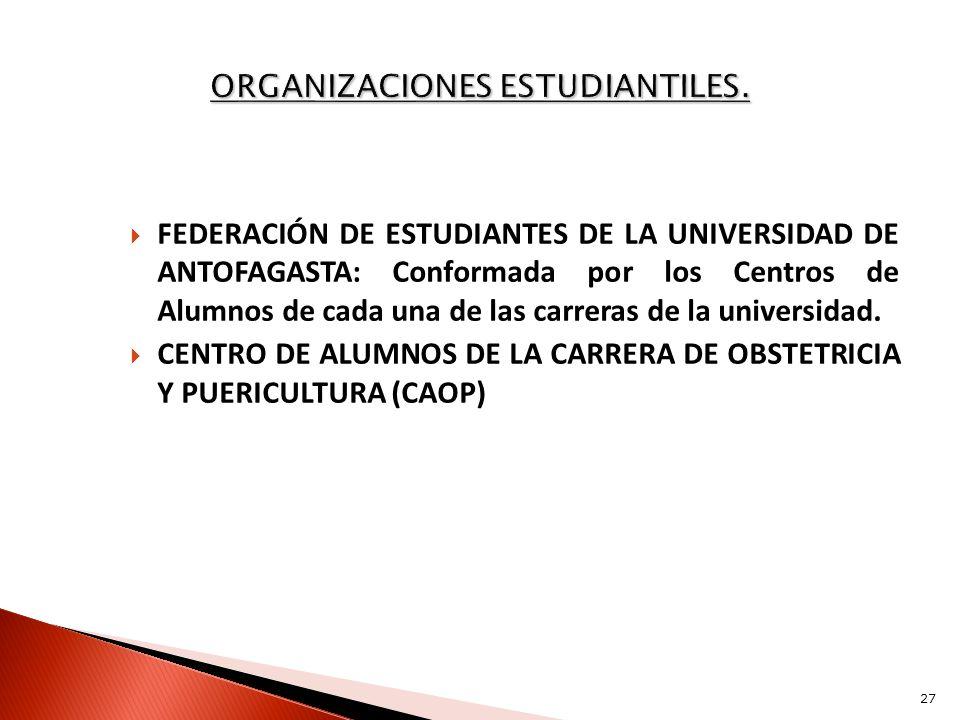 FEDERACIÓN DE ESTUDIANTES DE LA UNIVERSIDAD DE ANTOFAGASTA: Conformada por los Centros de Alumnos de cada una de las carreras de la universidad. CENTR