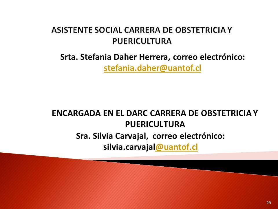 Srta. Stefania Daher Herrera, correo electrónico: stefania.daher@uantof.cl stefania.daher@uantof.cl ENCARGADA EN EL DARC CARRERA DE OBSTETRICIA Y PUER