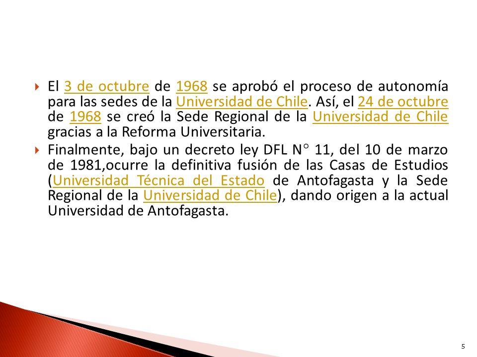 El 3 de octubre de 1968 se aprobó el proceso de autonomía para las sedes de la Universidad de Chile. Así, el 24 de octubre de 1968 se creó la Sede Reg
