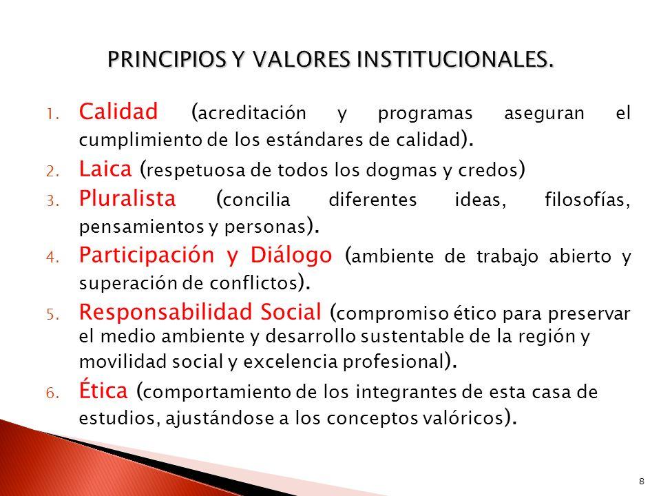 1. Calidad ( acreditación y programas aseguran el cumplimiento de los estándares de calidad ). 2. Laica ( respetuosa de todos los dogmas y credos ) 3.