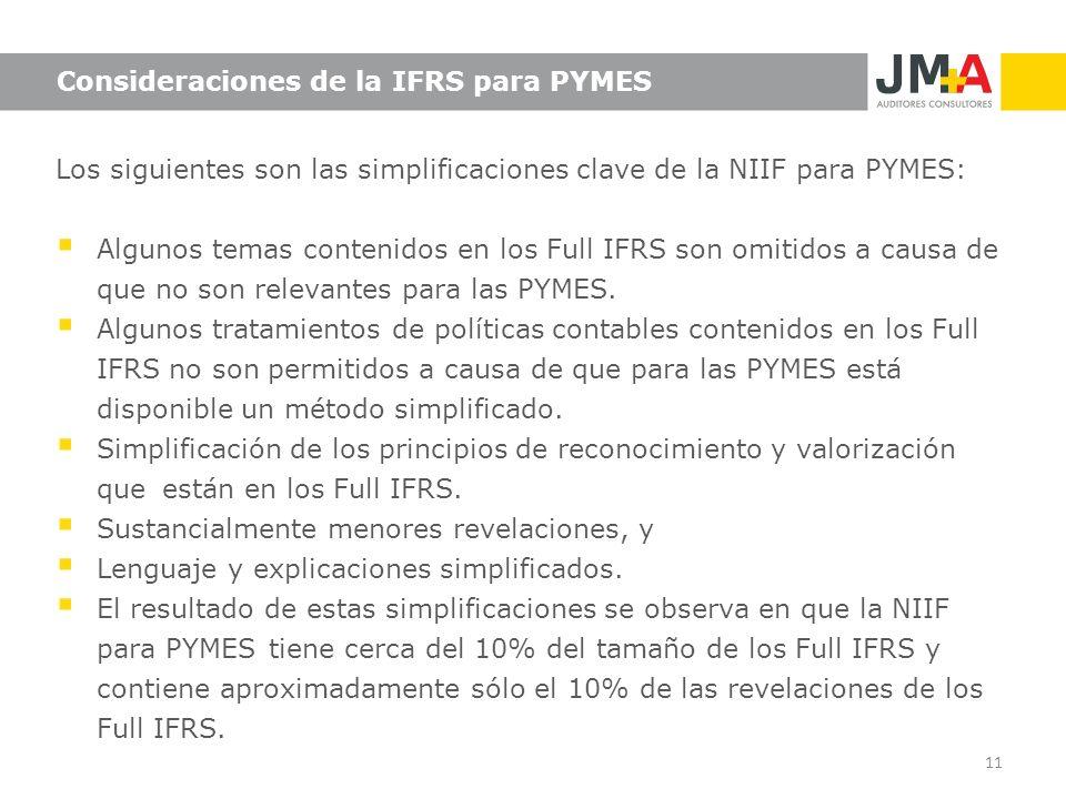 11 Consideraciones de la IFRS para PYMES Los siguientes son las simplificaciones clave de la NIIF para PYMES: Algunos temas contenidos en los Full IFR