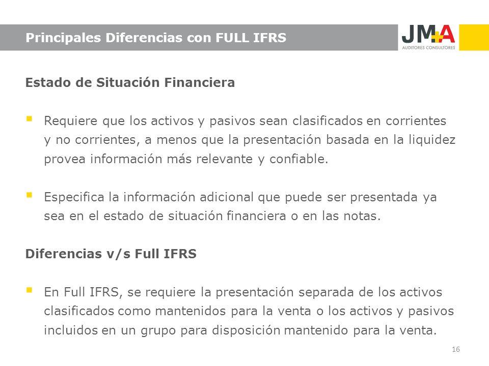 Principales Diferencias con FULL IFRS Estado de Situación Financiera Requiere que los activos y pasivos sean clasificados en corrientes y no corriente
