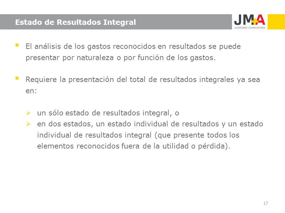 Estado de Resultados Integral El análisis de los gastos reconocidos en resultados se puede presentar por naturaleza o por función de los gastos. Requi