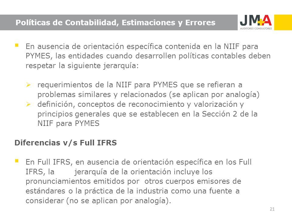 Políticas de Contabilidad, Estimaciones y Errores En ausencia de orientación específica contenida en la NIIF para PYMES, las entidades cuando desarrol