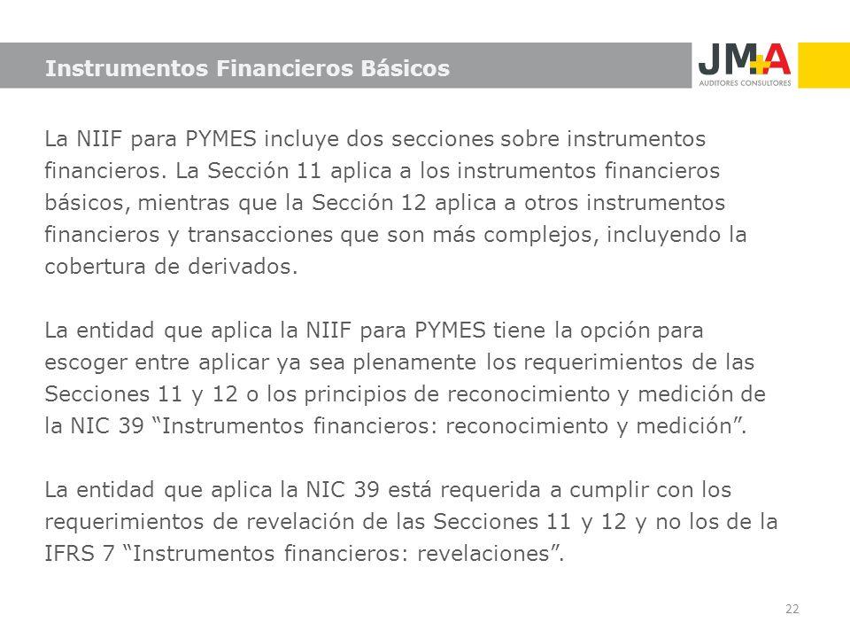 La NIIF para PYMES incluye dos secciones sobre instrumentos financieros. La Sección 11 aplica a los instrumentos financieros básicos, mientras que la