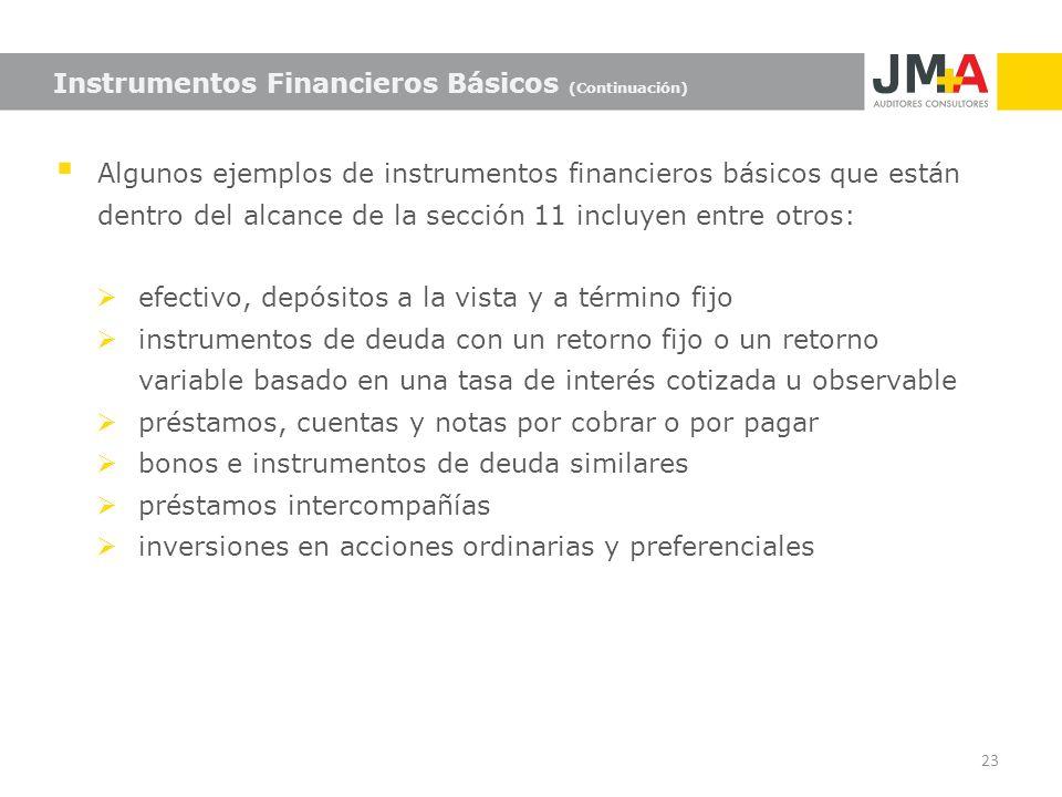 Algunos ejemplos de instrumentos financieros básicos que están dentro del alcance de la sección 11 incluyen entre otros: efectivo, depósitos a la vist