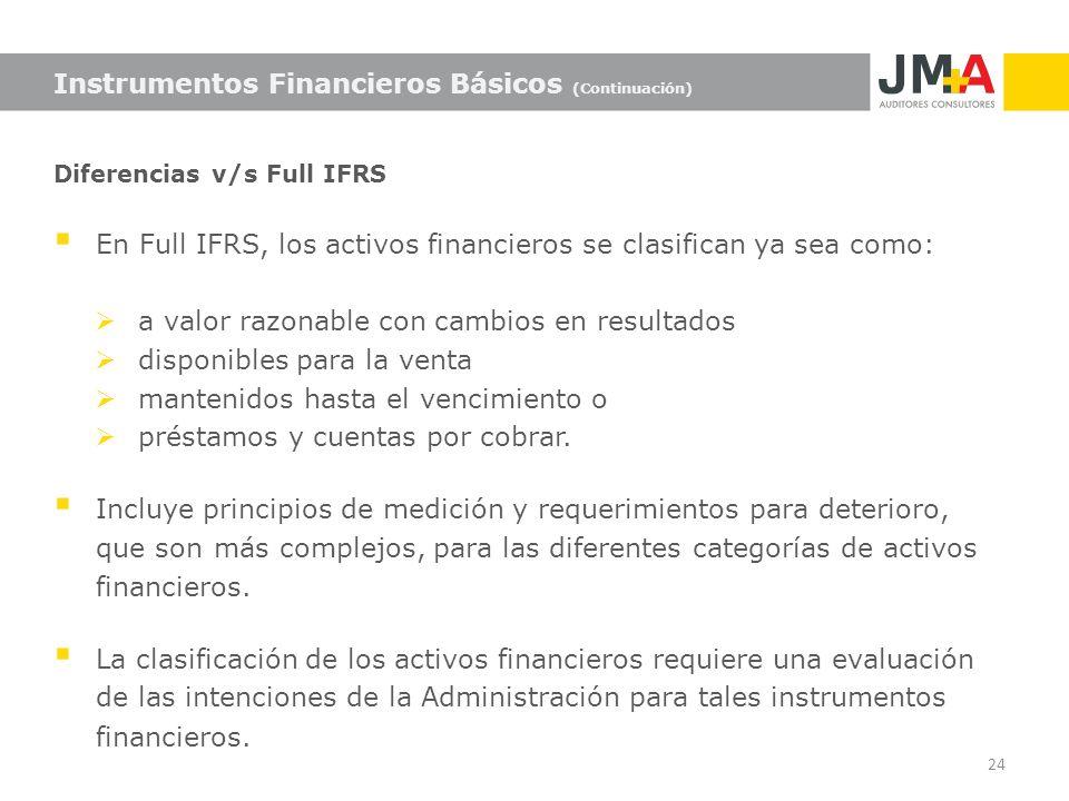 Diferencias v/s Full IFRS En Full IFRS, los activos financieros se clasifican ya sea como: a valor razonable con cambios en resultados disponibles par