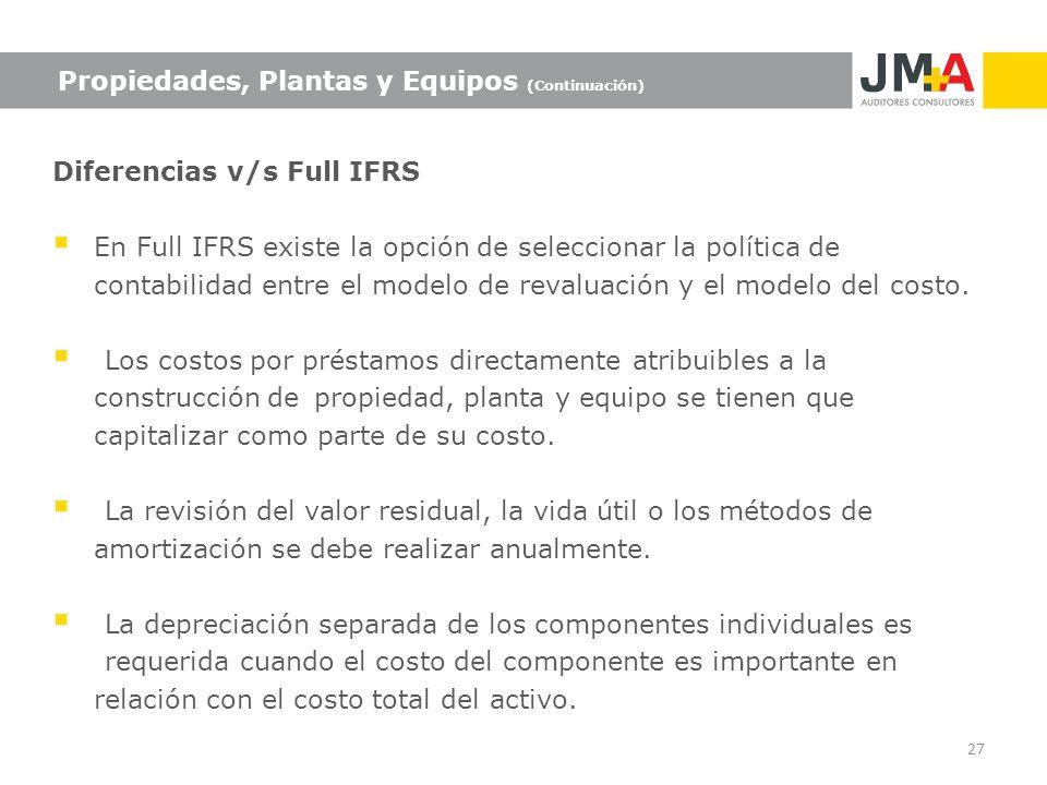 Propiedades, Plantas y Equipos (Continuación) Diferencias v/s Full IFRS En Full IFRS existe la opción de seleccionar la política de contabilidad entre