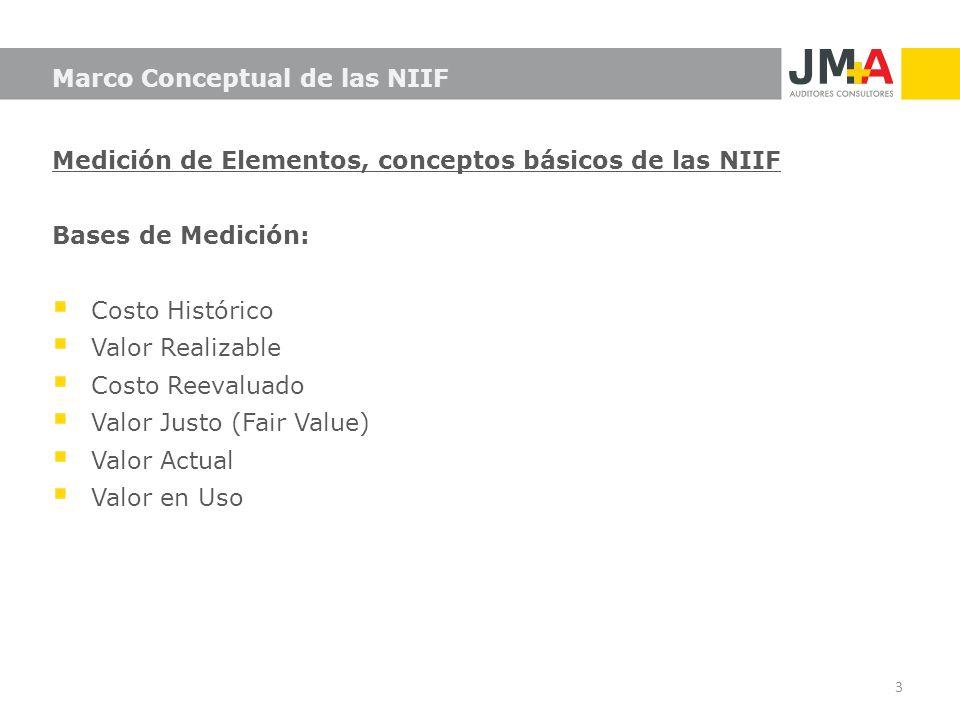Medición de Elementos, conceptos básicos de las NIIF Bases de Medición: Costo Histórico Valor Realizable Costo Reevaluado Valor Justo (Fair Value) Val
