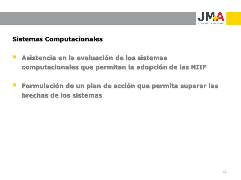 Sistemas Computacionales Asistencia en la evaluación de los sistemas computacionales que permitan la adopción de las NIIF Asistencia en la evaluación