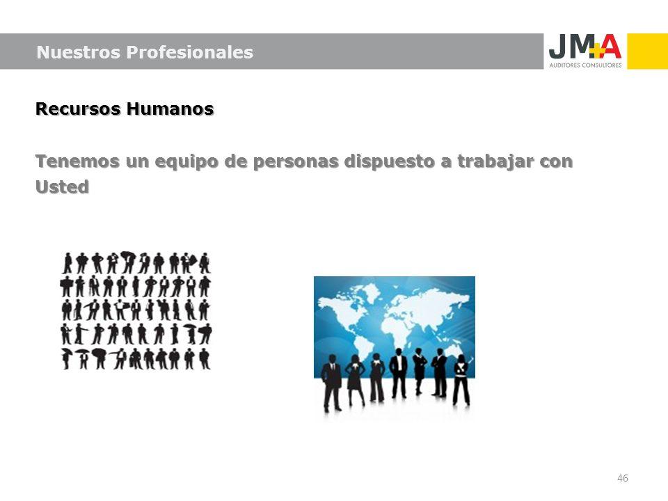 Recursos Humanos Tenemos un equipo de personas dispuesto a trabajar con Usted 46 Nuestros Profesionales