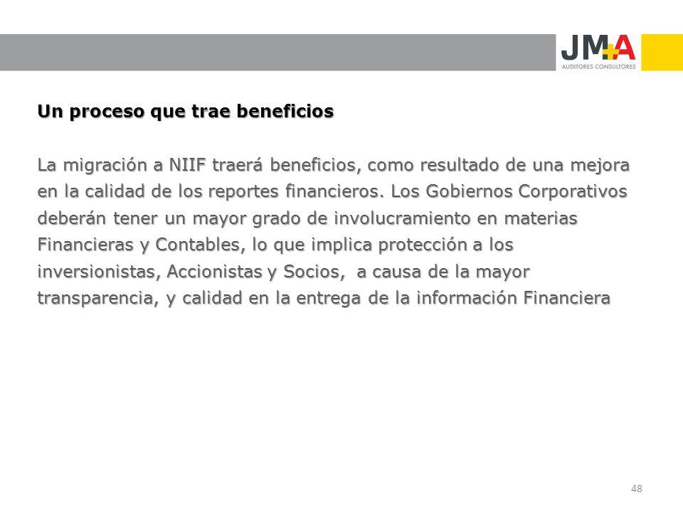 Un proceso que trae beneficios La migración a NIIF traerá beneficios, como resultado de una mejora en la calidad de los reportes financieros. Los Gobi