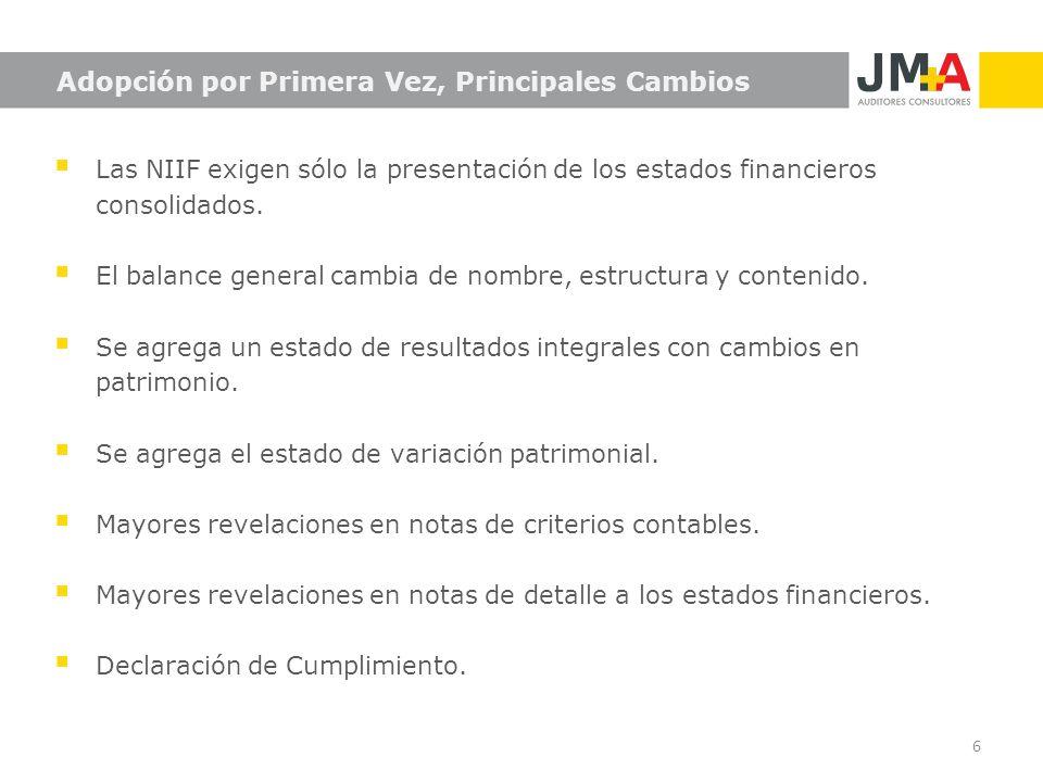 6 Adopción por Primera Vez, Principales Cambios Las NIIF exigen sólo la presentación de los estados financieros consolidados. El balance general cambi