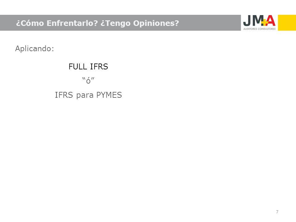 7 ¿Cómo Enfrentarlo? ¿Tengo Opiniones? Aplicando: FULL IFRS ó IFRS para PYMES