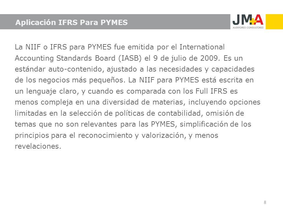 Aplicación IFRS Para PYMES La NIIF o IFRS para PYMES fue emitida por el International Accounting Standards Board (IASB) el 9 de julio de 2009. Es un e