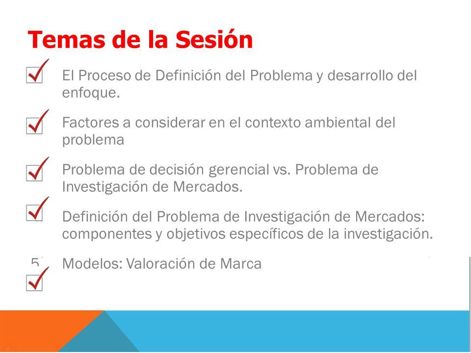 Temas de la Sesión 1.El Proceso de Definición del Problema y desarrollo del enfoque. 2.Factores a considerar en el contexto ambiental del problema 3.P