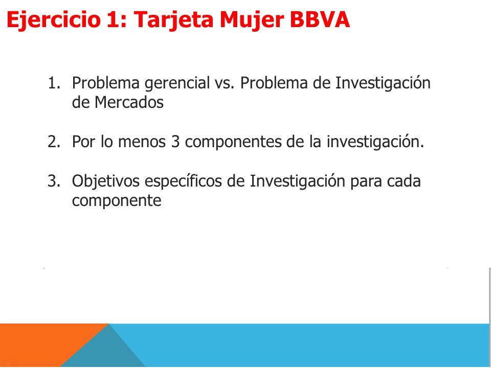 1.Problema gerencial vs. Problema de Investigación de Mercados 2.Por lo menos 3 componentes de la investigación. 3.Objetivos específicos de Investigac