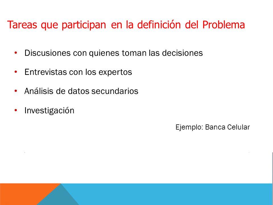 Discusiones con quienes toman las decisiones Entrevistas con los expertos Análisis de datos secundarios Investigación Ejemplo: Banca Celular Tareas qu