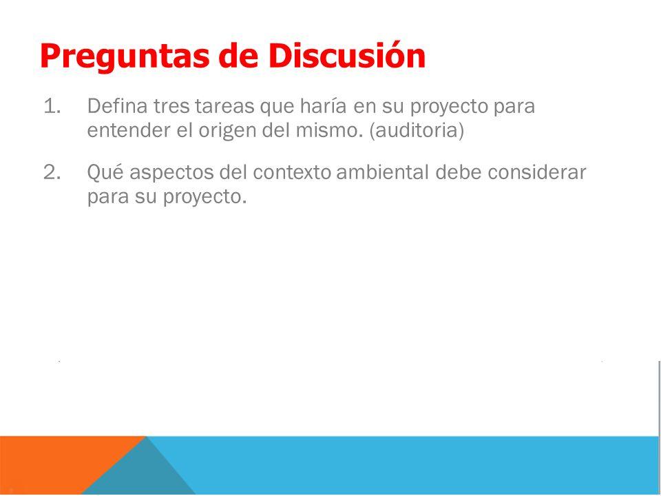 Preguntas de Discusión 1.Defina tres tareas que haría en su proyecto para entender el origen del mismo. (auditoria) 2.Qué aspectos del contexto ambien