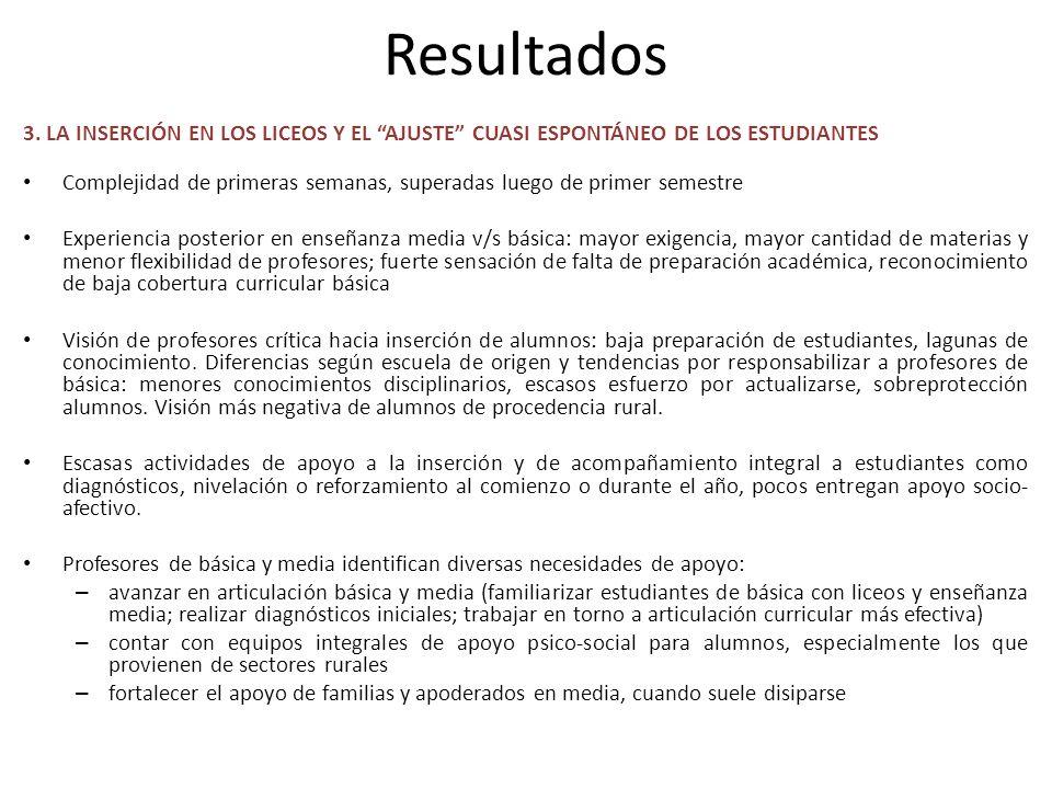 Resultados 3. LA INSERCIÓN EN LOS LICEOS Y EL AJUSTE CUASI ESPONTÁNEO DE LOS ESTUDIANTES Complejidad de primeras semanas, superadas luego de primer se